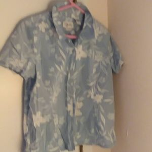 izod light blue and while floral print